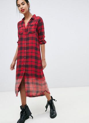 Платье-рубашка макси в клетку  u.s. polo assn(оригинал)