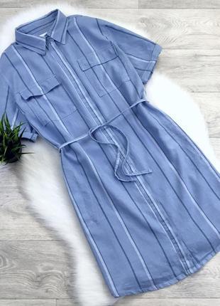 Платье рубашка в полоску (в составе есть лён)