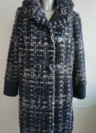 Очень стильное пальто marks&spencer синего цвета меланж, букле