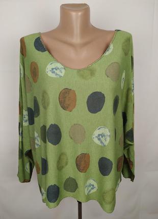 Блуза итальянская трикотажная стильная в горохи uk 16/44/xl