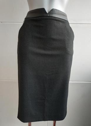Стильная юбка-карандаш zara с вставками из искусственной кожи