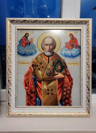 Картина вышитая бисером Св.Николай
