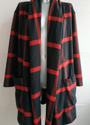 Оригинальное пальто-кардиган в клетку 80% шерсть 20% кашемир о...