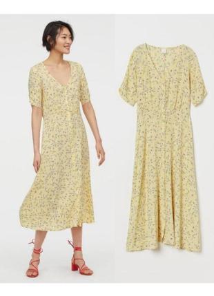 Желтое платье из вискозы, платье миди в мелкий цветочек