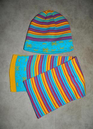 Новый детский тёплый зимний набор шапка и шарф яркий в полоску...
