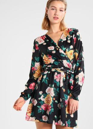 Красивое платье на запах по груди, цветочный принт, bik bok