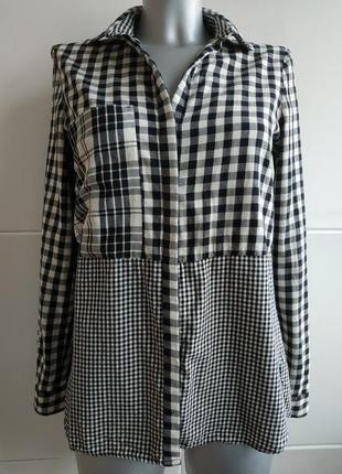 Оригинальная рубашка zara с красивым клетчатым орнаментом пэчворк