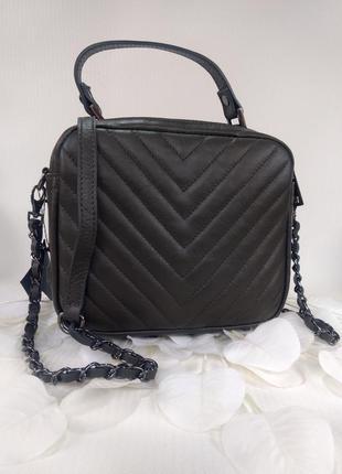 Кожаная сумочка-кроссбоди vera pelle италия тёмно-серая