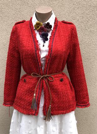 Твид,хлопок,красный жакет,пиджак без застежки,бахромой в стиле...