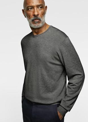 Шерстяной базовый свитер asos серого цвета 100%меринос