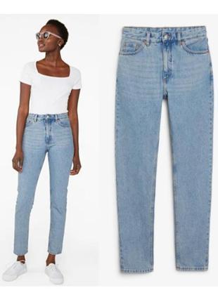 Голубые джинсы monki,высокие джинсы