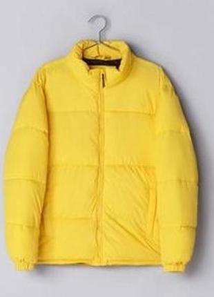 Стёганая куртка bershka жёлтого цвета с воротником-стойка