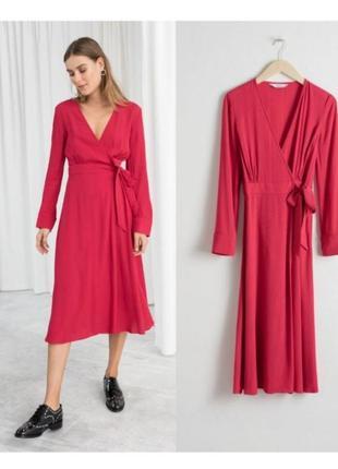 Красное платье на запах,платье миди sale