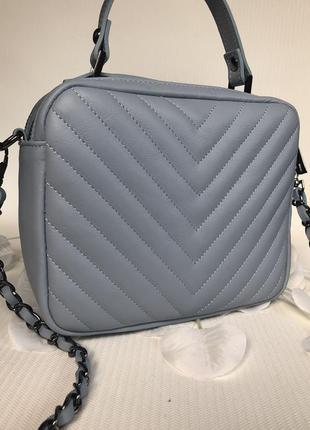 Кожаная сумочка-кроссбоди vera pelle италия голубая