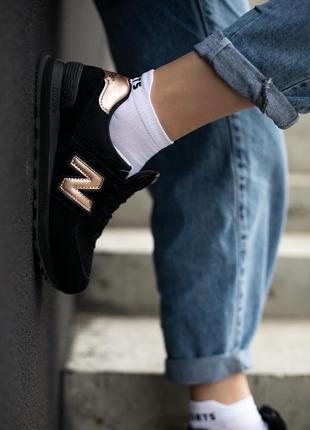 New balance 574 🔺женские кроссовки нью беланс черные с золотым
