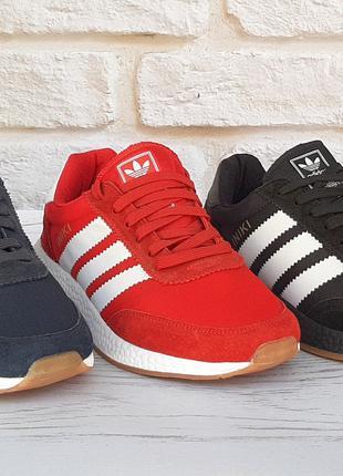 Adidas iniki  мужские кроссовки черные,синие,красные