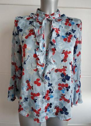 Изумительная блуза zara с принтом красивых цветов и рюшами
