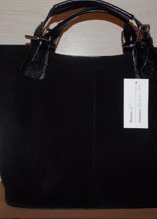 Стильная замшевая черная сумка-шоппер