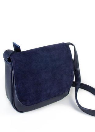 Замшевая синяя сумка кросс-боди