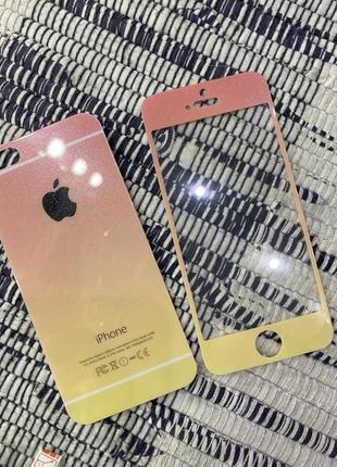 Защитное стекло градиент в блестках iphone 5,5s,se