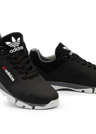 Подростковые кожаные кроссовки чёрные