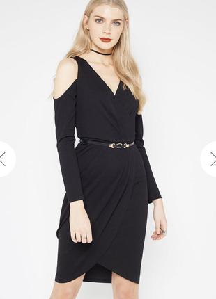 Новое с биркой чёрное платье миди на запах miss selfridge разм...