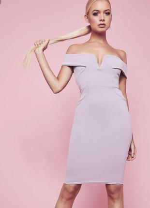 Серое платье миди по фигуре missguided