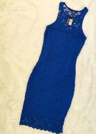 Новое с биркой кружевное синее электрик платье миди atmosphere...