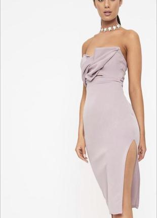 Шикарное сиреневое платье миди с разрезом prettylittlething