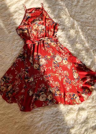 Оранжевое/ терракотовое платье миди в цветочный принт new look...