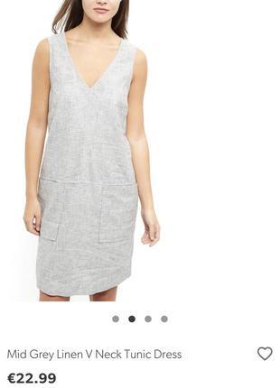Серое льняное платье new look большой размер 56 новая коллекция