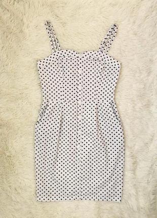Белое платье в горошек на пуговицах vero moda хлопок размер 46