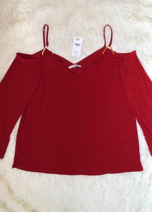 Новая с биркой красная блуза с открытыми плечами george большо...