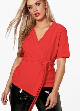 Новая с биркой красная блуза с эффектом запаха boohoo большой ...