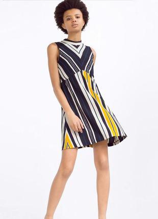 Стильное платье в полоску zara collection размер 48