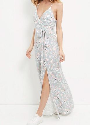 Нежно голубое длинное платье макси new look в цветочный принт ...
