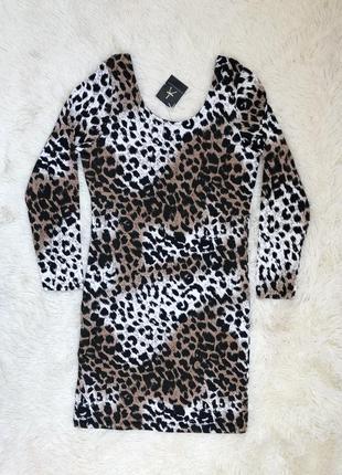 Новое с биркой платье с длинным рукавом в леопардовый принт at...