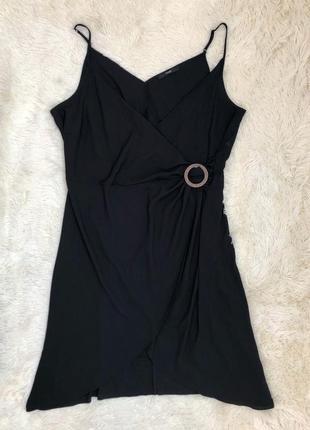 Стильное чёрное платье миди на запах george большой размер 60