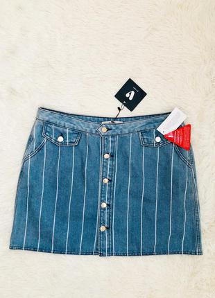 Новая с биркой джинсовая юбка в полоску с пуговицами by very р...