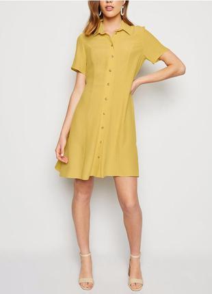 Новое желтое платье - рубашка с пуговицами new look размер 56