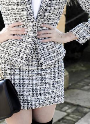 Белая твидовая юбка в клетку h&m