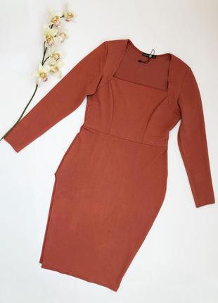 Шикарное платье миди по фигуре с разрезом и длинным рукавом bo...