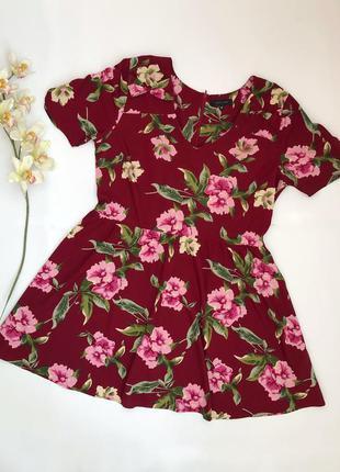 Бордовое платье в цветочный принт new look большой размер 56