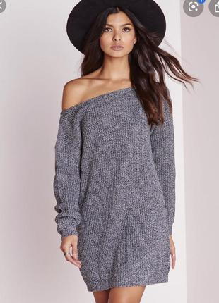 Серое платье-свитер missguided