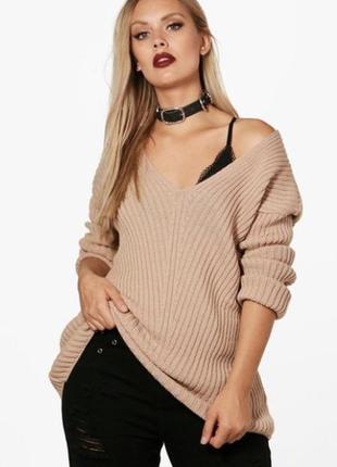 Новый с биркой бежевый свитер boohoo plus  размер 54