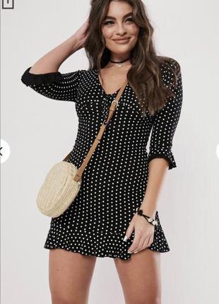 Чёрное платье в горошек missguided размер 50-52