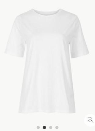 Белая хлопковая футболка marks&spencer батал размер 24, 60 индия