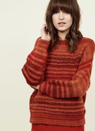 Стильный тёплый оранжевый свитер в полоску new look
