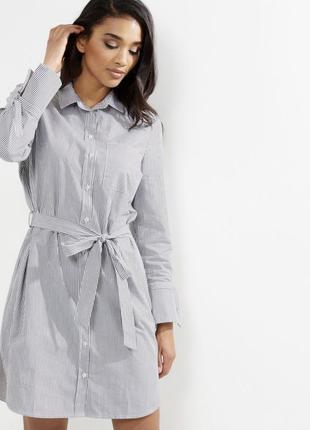 Новое платье рубашка в полоску под пояс new look большой разме...