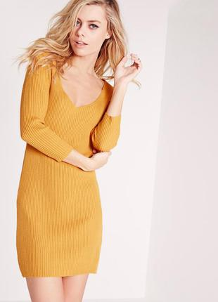 Горчичное вязаное платье в рубчик missguided размер l, xl 48-50